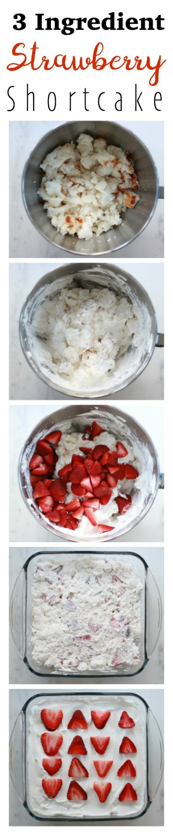 This strawberry shortcake recipe with angel food cake calls for three ingredients and is absolutely crowd pleasing! Not only does it only take a few short minutes to throw together, but it's delicious. You can also make it ahead of time. I sincerely hope you enjoy this recipe! Find full recipe at the bottom of this post.