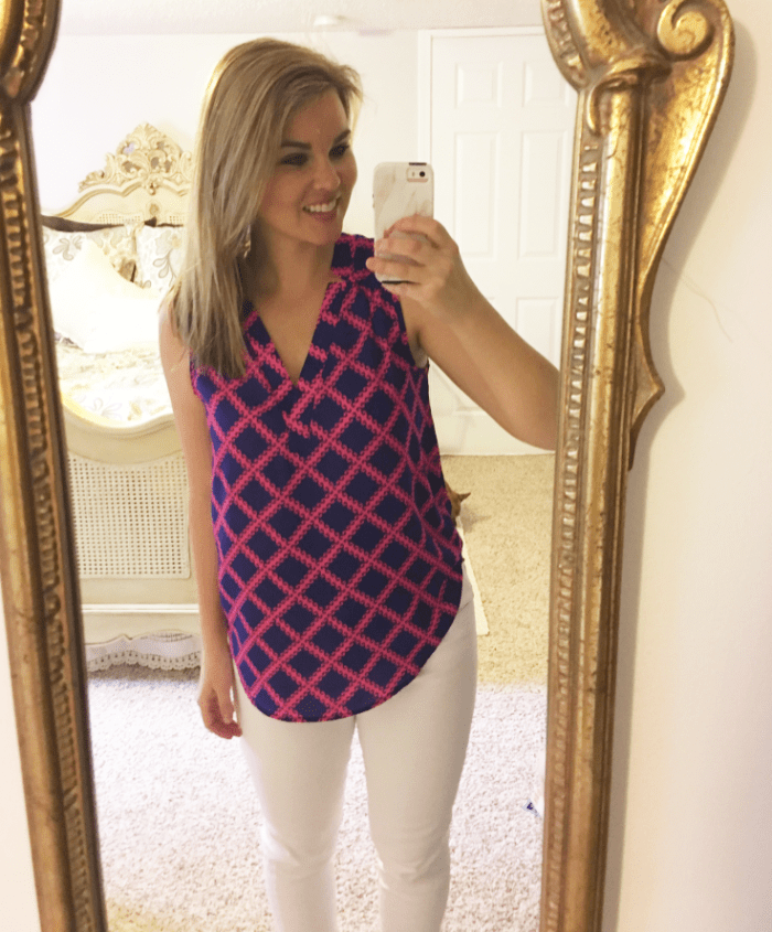 Whimsical September Stitch Fix Review April 2017: 41Hawthorne Neck Blouse