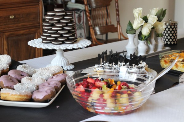"""A Black and White """"Little Man"""" Themed Brunch Baby Shower:We had so much fun throwing this Little Man baby shower for the sweetest friend. This blog post shares food ideas, decor, and much more. Enjoy!"""