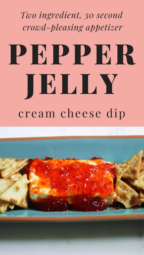 This Pepper Jelly Cream Cheese Dip requires two ingredients (pepper jelly and cream cheese) and two steps: place cream cheese and dump jelly. Delicious! This simple and sweet dip is the perfect appetizer not only for the holiday season, but year round to serve for family and friends. Serve it on a plate with Wheat Thins or Ritz Crackers, and you'll be sure to please the tastebuds of your whole crowd.