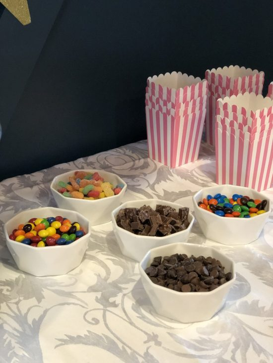 POPCORN BAR |Sleepover Birthday Party: This post shares ideas for decorations, activities, games, food, cake, snacks, and more for throwing an event that is enjoyable for boys, girls, and adults alike! More within this post on WhimsicalSeptember.com