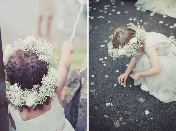 flower girl flower crown halo gypsophila
