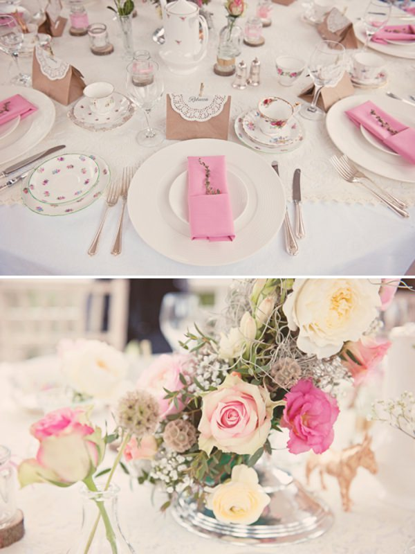 whimsical pink wedding tables