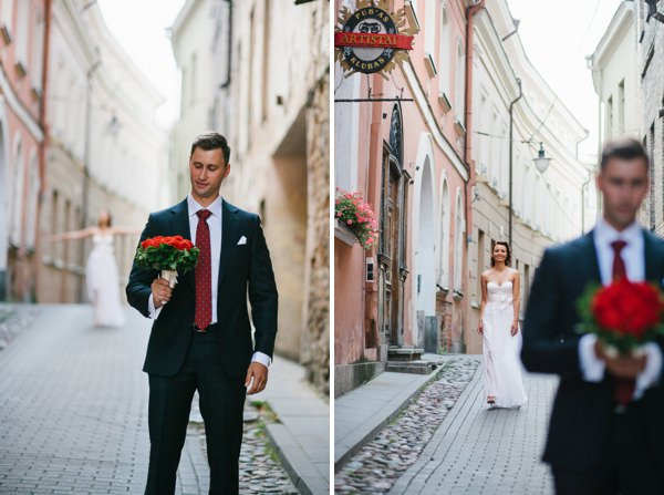 Intimate Sophisticated Lithuania Wedding First Look http://www.kokkinofoto.lt/