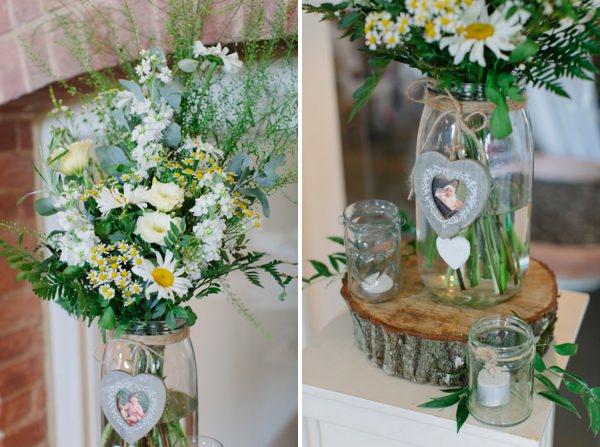 Natural Rustic Daisy Wedding Jar Log Flowers http://www.camillaarnholdphotography.com/