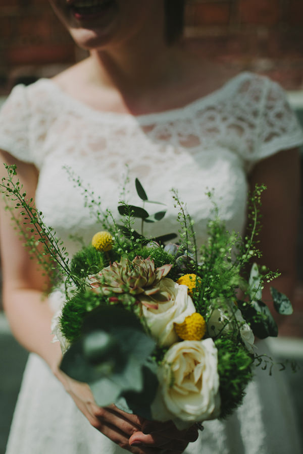Quirky Chilled Party Wedding Rose Succulent Yellow Bridal Bouquet http://sdphotography.co.uk/
