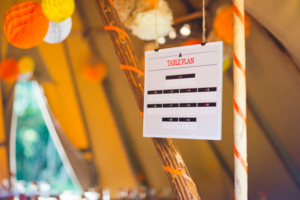 Outdoor Camping Tipi Orange Wedding Graphic Stationery Table Plan http://kategrayphotography.com/