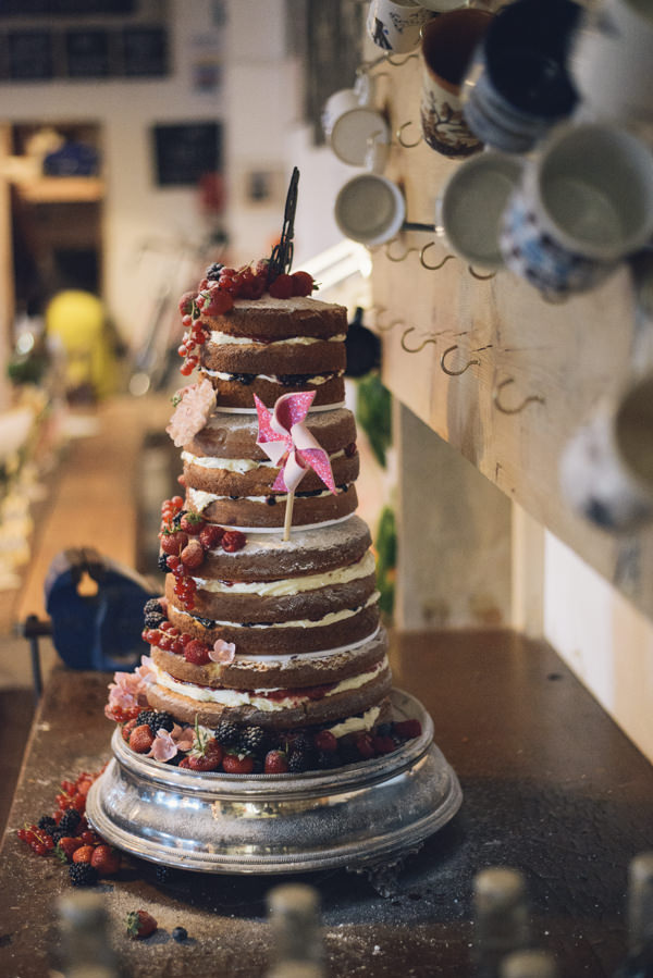 Naked Sponge Layer Cake Fruit Rustic Eclectic DIY London Wedding http://chironcole.com/