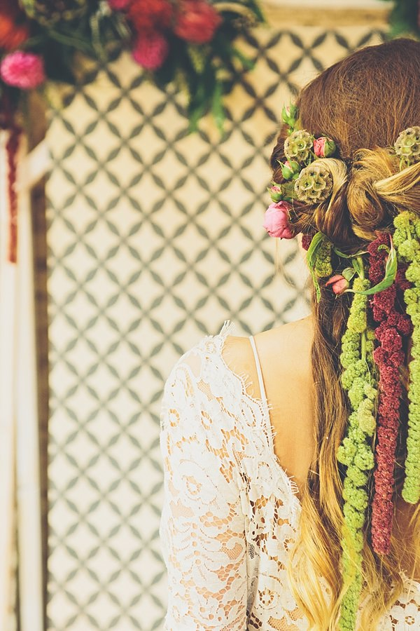 Bride Flowers Hair Style Twist Moroccan Nights Wedding Ideas http://www.jessicawitheyphotography.com/