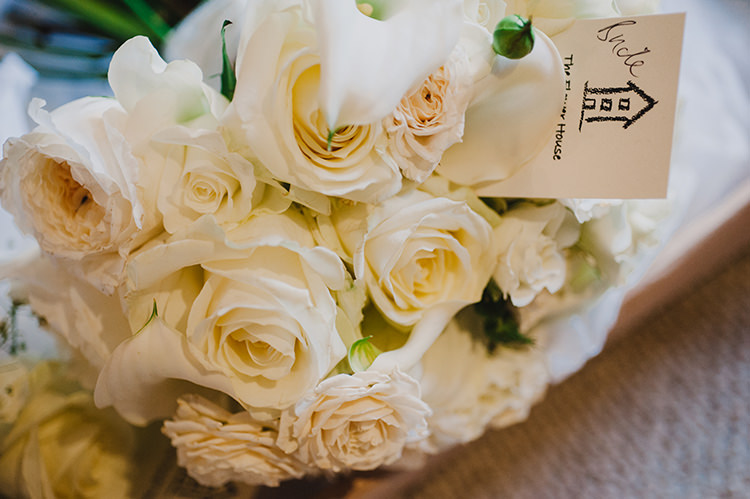 White Cream Rose Bouquet Bride Bridal Glamorous Gatsby 1920s Speakeasy Winter Wedding http://www.jmcsweeneyphotography.co.uk/