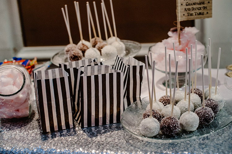 Dessert Table Sequin Cake Pops Glamorous Gatsby 1920s Speakeasy Winter Wedding http://www.jmcsweeneyphotography.co.uk/