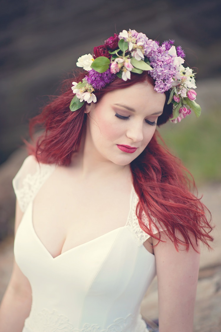 Flower Crown Halo Garland Bride Bridal Purple Red Beautiful British Flower Peak District Moors Wedding Ideas http://www.sarahbrabbin.co.uk/