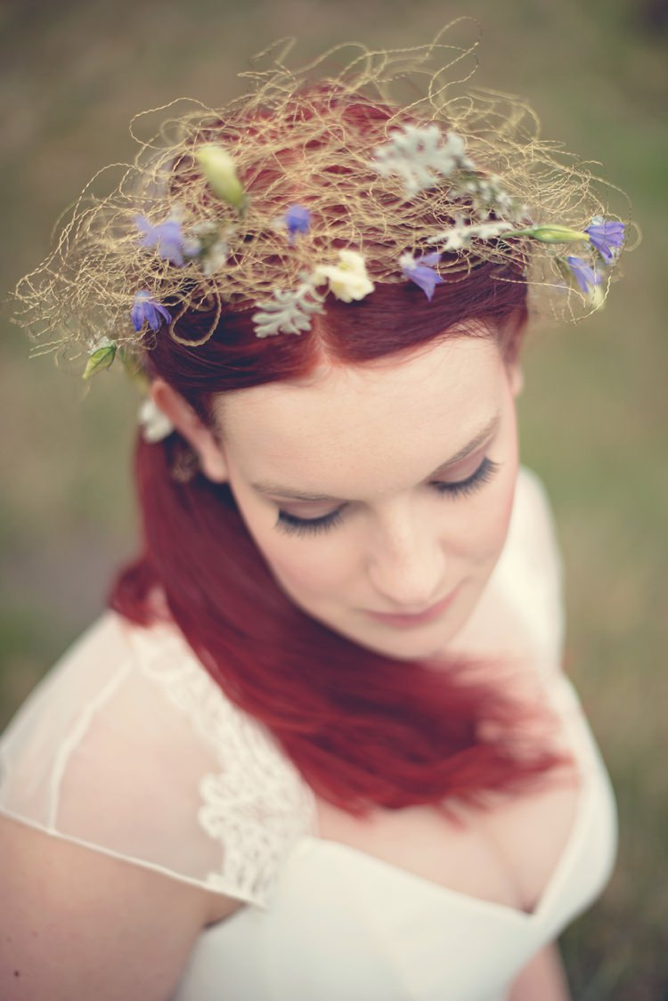 Whimsical Dreamy Crown Light Boho Accessory Bride Bridal Beautiful British Flower Peak District Moors Wedding Ideas http://www.sarahbrabbin.co.uk/