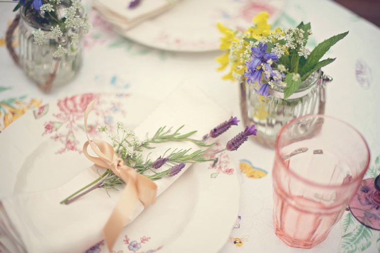 Jars Napkins Plates Crockery Beautiful British Flower Peak District Moors Wedding Ideas http://www.sarahbrabbin.co.uk/