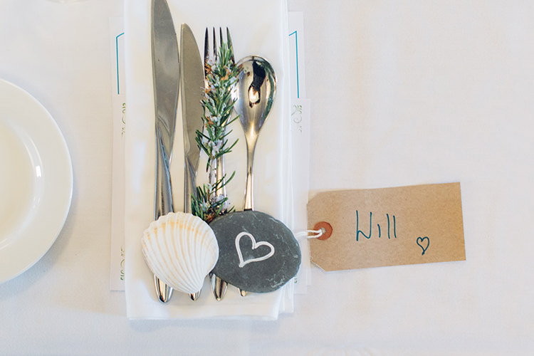Rosemary Slate Shell Luggage Tag Place Setting Decor Chilled DIY Beach Front Cafe Cornwall Yellow Blue Wedding http://missgen.com/