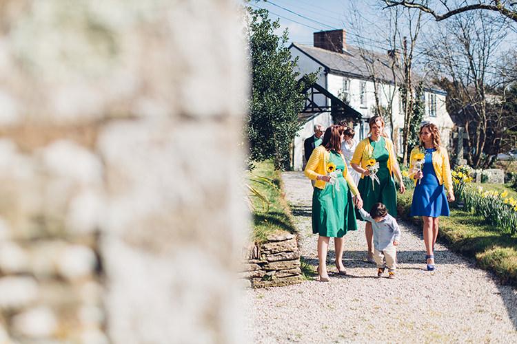 Bridesmaid Dresses Short Cardigans Chilled DIY Beach Front Cafe Cornwall Yellow Blue Wedding http://missgen.com/