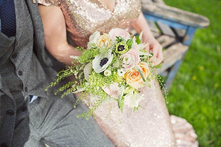 Bouquet Flowers Bride Bridal Green Peach Home Made Countryside Spring Wedding Sequin Gold Dress Oxford http://www.cottoncandyweddings.co.uk/