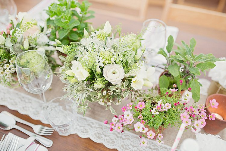 Flowers Centrepiece Table Pretty White Green Home Made Countryside Spring Wedding Sequin Gold Dress Oxford http://www.cottoncandyweddings.co.uk/