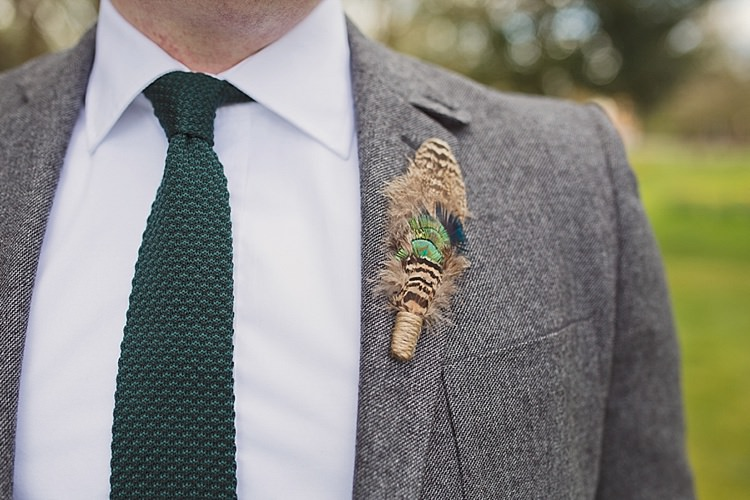 Knitted Tie Feather Buttonhole Groom Home Made Countryside Spring Wedding Sequin Gold Dress Oxford http://www.cottoncandyweddings.co.uk/