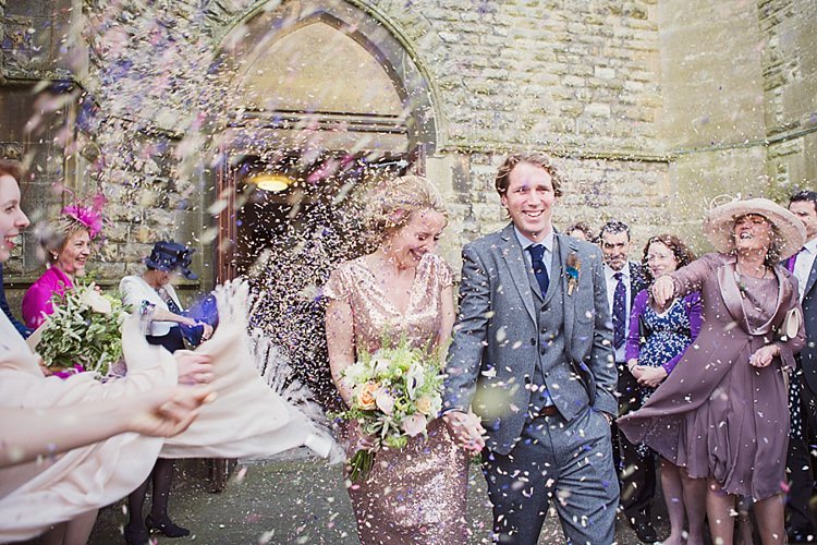 Confetti Home Made Countryside Spring Wedding Sequin Gold Dress Oxford http://www.cottoncandyweddings.co.uk/