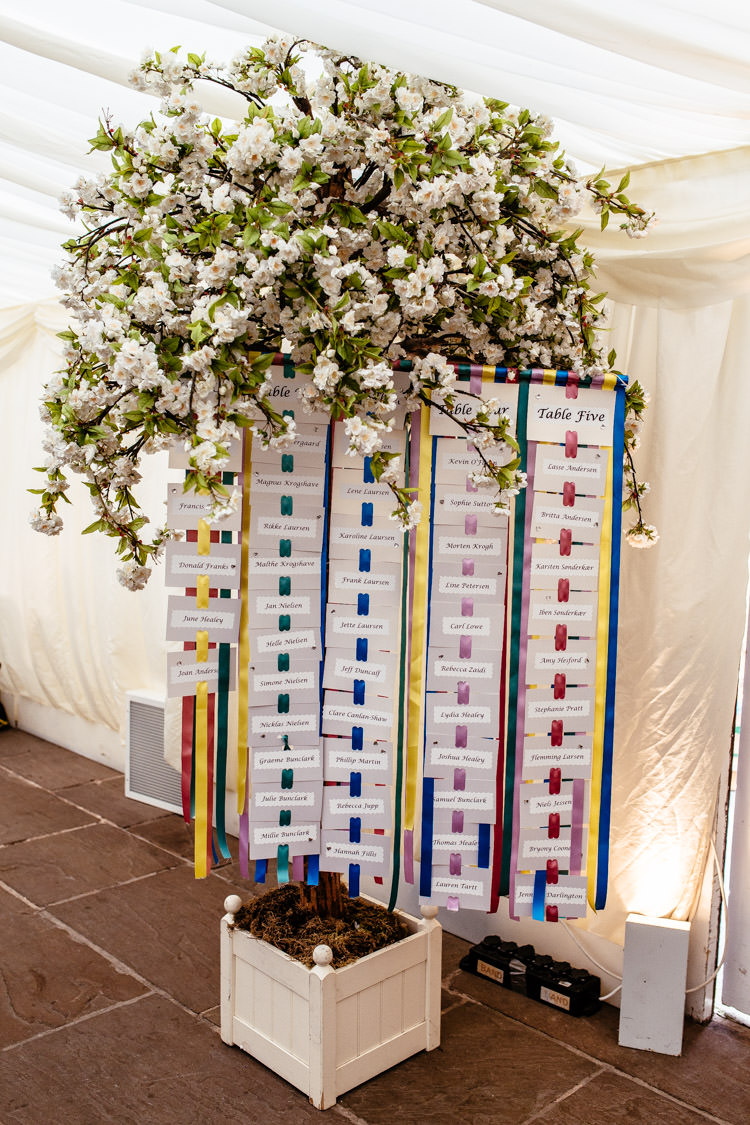 Ribbon Table Seating Plan Chart Quirky Colourful Pastel Country Fair Wedding http://www.cassandralane.co.uk/