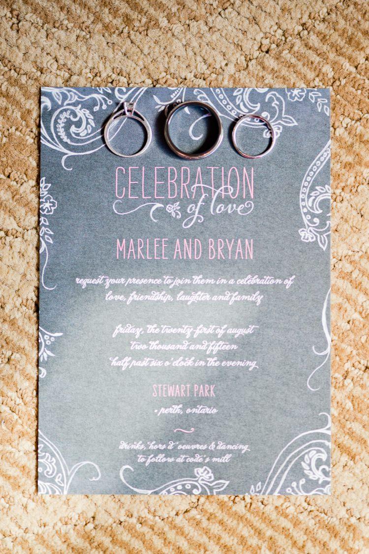 Black Board Chalk Stationery Invitations Romantic Pink Grey Outdoor Wedding Ontario http://www.nicoleamanda.ca/