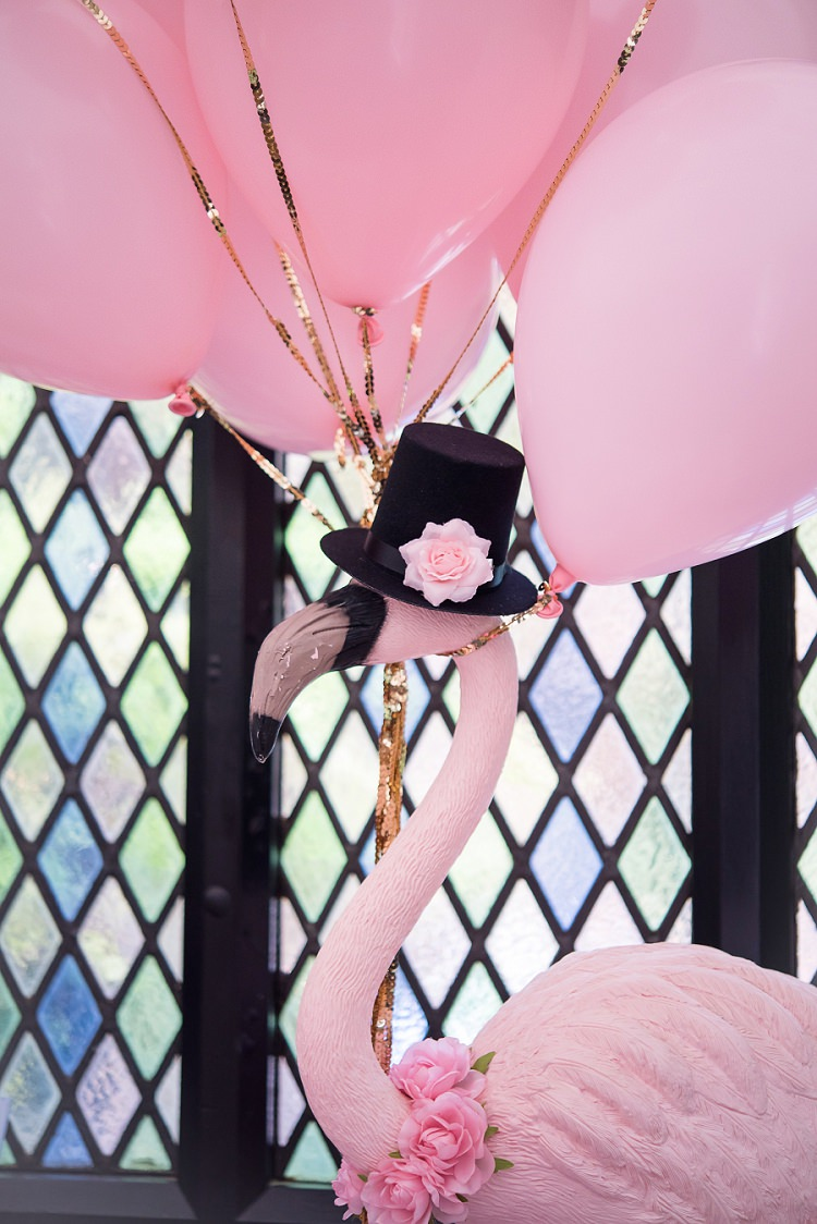 Flamingo Balloons Whimsical Boho Glamour Pink Blue Gold Wedding http://www.sarareeve.com/