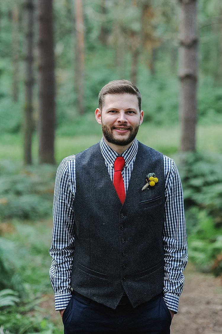 Waistcoat Groom Red Knitted Tie Blue Checked Shirt Beard Our Whimsical Woodland Wedding Ceremony UK http://alexa-loy.com/