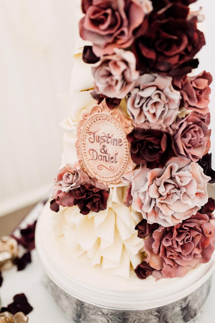 Flower Cake Opulent Dramatic Decadent Fairytale Whimsical Burgundy Gold Wedding http://www.victoriatyrrellphotography.com/