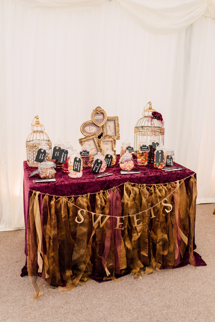 Sweetie Sweets Table Bar Station Fairytale Whimsical Burgundy Gold Wedding http://www.victoriatyrrellphotography.com/