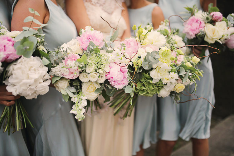 Pink White Bridesmaid Bouquets Flowers Peonies Stylish Pastel Rustic Barn Wedding http://helenrussellphotography.co.uk/