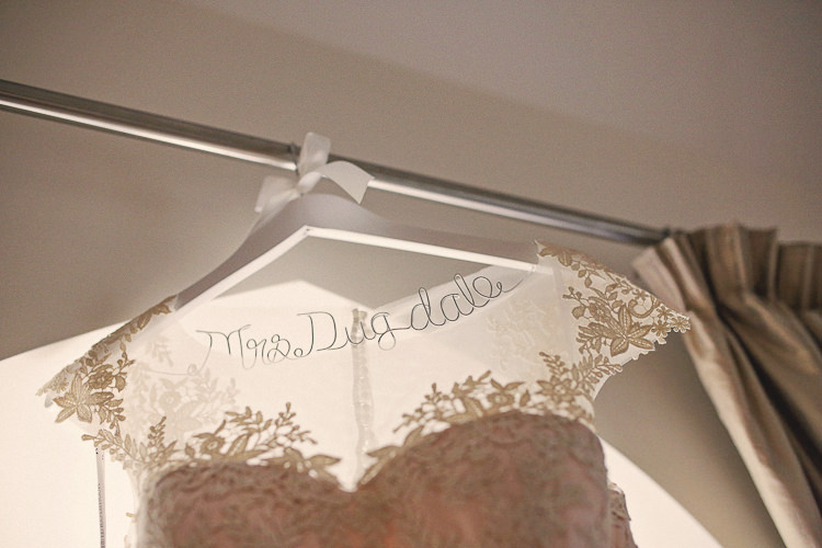 Custom Dress Bride Hanger Rustic Laid Back Tipi Wedding http://helenrussellphotography.co.uk/