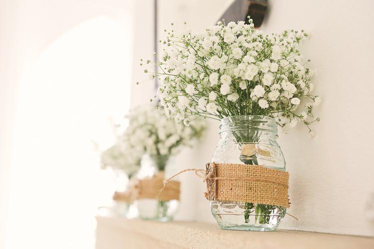 Hessian Jar Gypsophila Flowers Rustic Laid Back Tipi Wedding http://helenrussellphotography.co.uk/