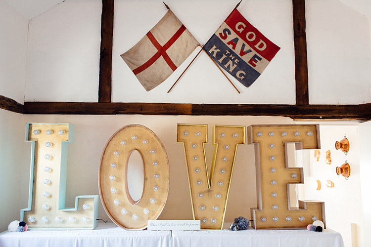 LOVE Letter Lights Home Made Rustic Eclectic Wedding http://www.frecklephotography.co.uk/