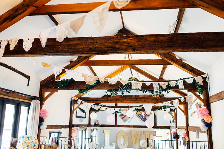Doily Bunting Home Made Rustic Eclectic Wedding http://www.frecklephotography.co.uk/