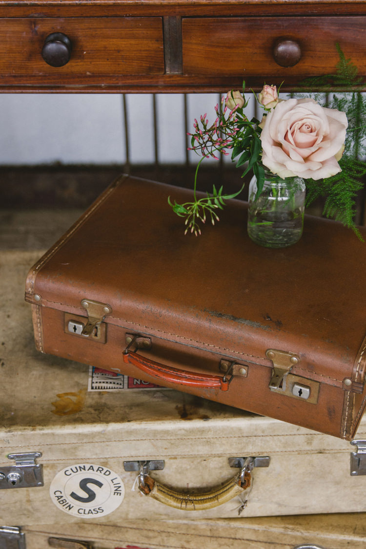 Suitcases Flowers Decor Industrial Eco Bloom Wedding Ideas http://www.mywildrose.co.uk/