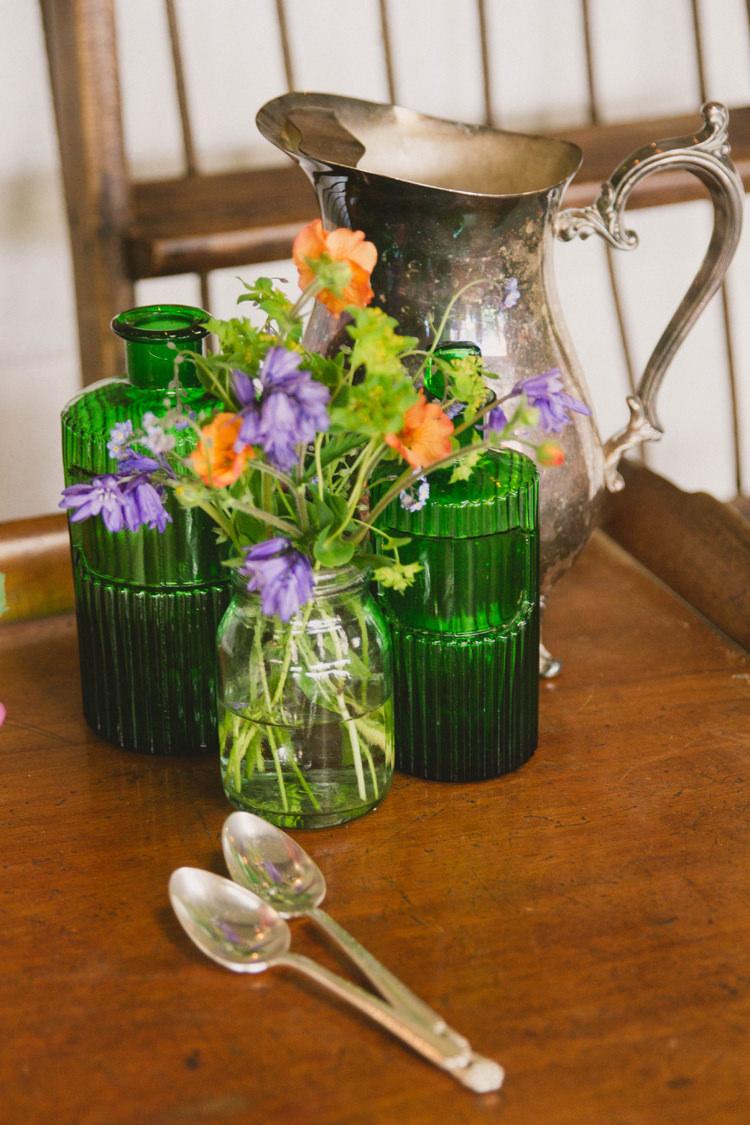 Green Bottles Flowers Industrial Eco Bloom Wedding Ideas http://www.mywildrose.co.uk/