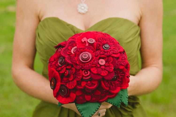 Red Fabric Felt Bouquet Industrial Eco Bloom Wedding Ideas http://www.mywildrose.co.uk/