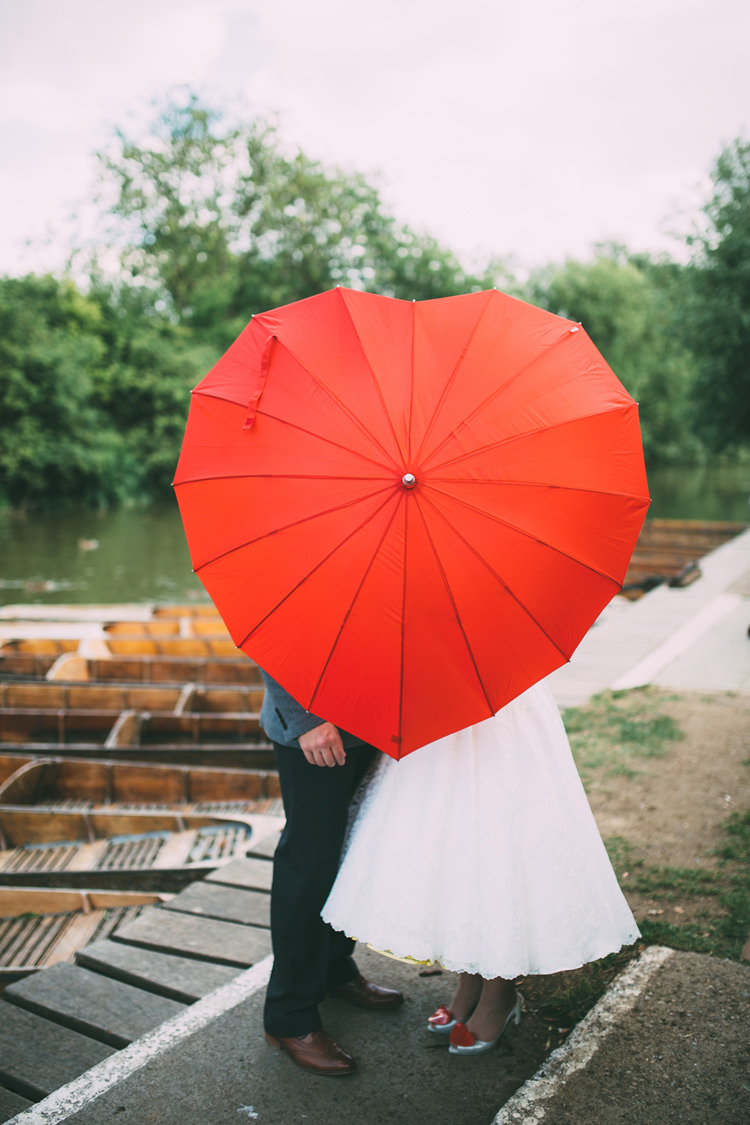 Red Heart Umbrella Quirky Modern Yellow Grey City Wedding http://jenmarino.com/