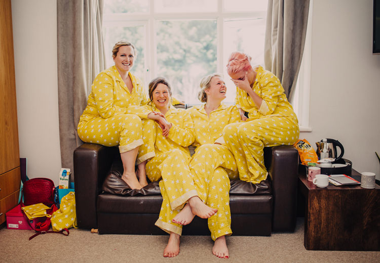 Yellow Star Pyjamas Bridesmaid Bride Quirky Modern Yellow Grey City Wedding http://jenmarino.com/