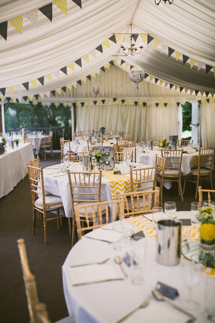 Marquee Bunting Chevron Table Runners Quirky Modern Yellow Grey City Wedding http://jenmarino.com/