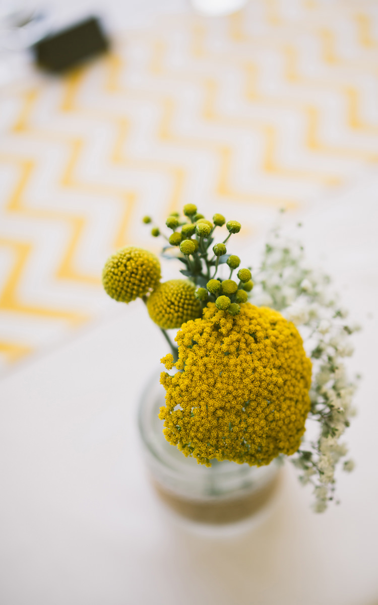 Flowers Billy Balls Tables Jar Quirky Modern Yellow Grey City Wedding http://jenmarino.com/