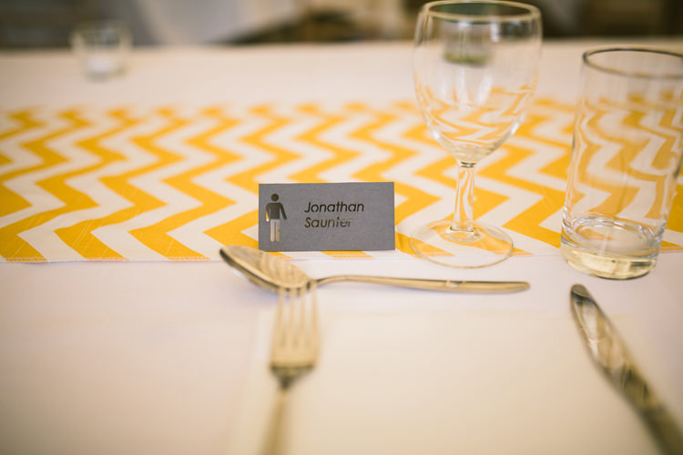 Graphic Place Name Cards Quirky Modern Yellow Grey City Wedding http://jenmarino.com/