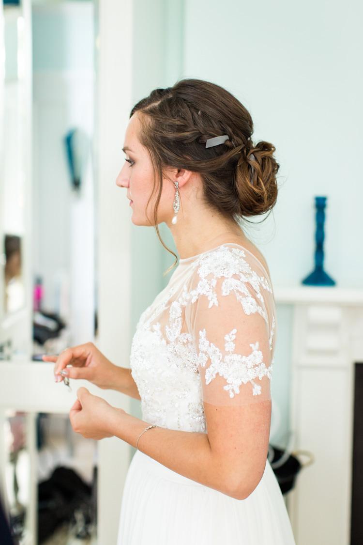 Gemena by Enzoani Short Sleeved Dress Bride Bridal Gown Colourful DIY Village Hall Wedding http://samanthagilrainephotography.com/