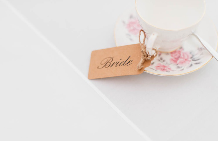 Tea Cup Luggage Tag Place Setting Name Home Made Garden Party Wedding www.purplepeartreephotography.com