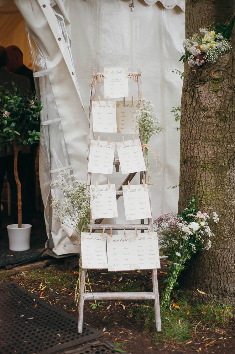 Ladder Seating Plan Table Chart Home Made Garden Party Wedding www.purplepeartreephotography.com