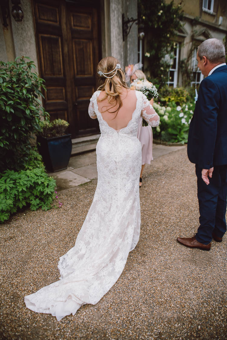 Lace V Back Dress Gown Sleeves Bride Bridal Home Made Garden Party Wedding www.purplepeartreephotography.com