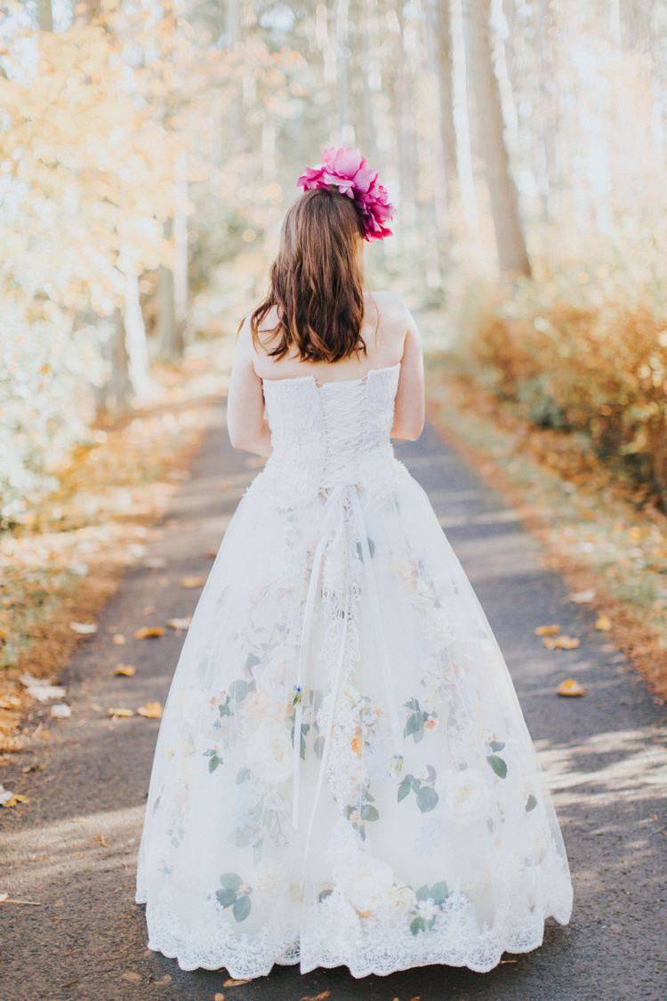 Floral Dress Lace Back Kathryn Russell Design Alice in Wonderland Wedding Ideas http://nataliepluck.com/