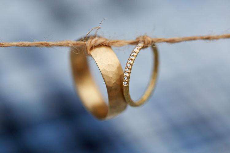 Yellow Gold Rings Bands Groom Bride Diamond Industrial Country Rustic Wedding https://www.fullerphotographyweddings.co.uk/