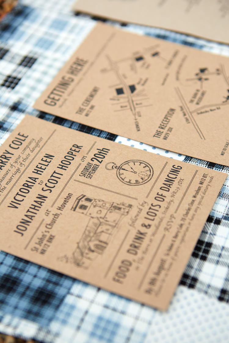 Kraft Brown Paper Stationery Invitations Industrial Country Rustic Wedding https://www.fullerphotographyweddings.co.uk/